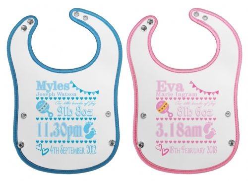 Personalised Our Little Bundle of Joy Waterproof Neoprene Baby Pocket Bib w/Buttons